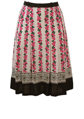 Tyrolean Style, Multi Pleat, Rose Patterned Knee Length Skirt - S