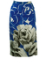 Arty Blue & White Midi Skirt with Large Floral Charcoal Drawing Print - M