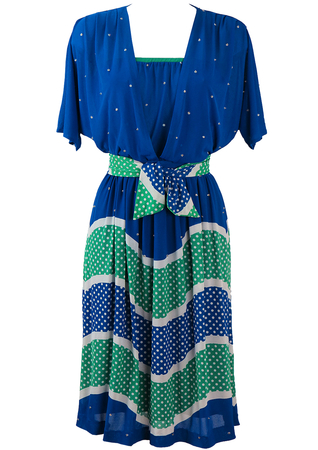 Vintage 80's Floaty Blue & Green Midi Dress with Stripes, Polka Dots & Diamantes - S/M