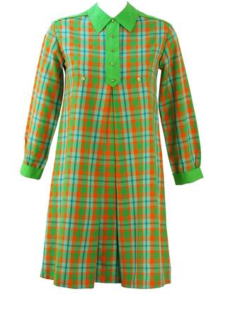 Vintage 60's Smock Mini Dress with Green, Orange & Blue Check - S