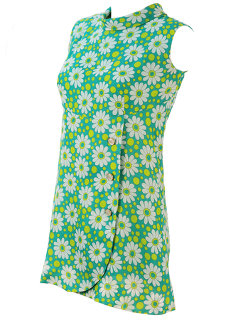 Vintage 60's Sleeveless Mini Dress with Green & White Daisy Pattern - S