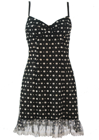 Kenzo Black & White Polka Dot Strappy Mini Dress with Floral Lace Overlay - S
