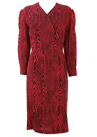 Red & Black Zebra Print Midi Dress with Three Quarter Length Sleeves - L/XL