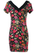 Floral Bodycon Mini Dress with Black Neckline Detail - S