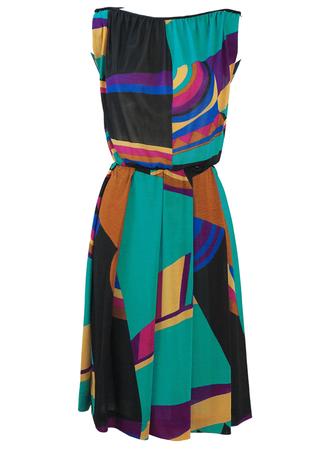 Vintage 80's Boat Neck Midi Dress with Multicoloured Geometric Pattern - M