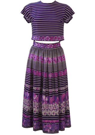 Two Piece Purple & White Stripe Crop Top & Flared Midi Skirt with Lilac & Grey Floral Pattern - S