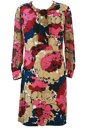Vintage 60's Long Sleeve, Knee Length Dress with Bold Abstract Floral Pattern - L