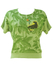 Green Short Sleeve Top with Jungle Leaf Print and Panther & Parrot Illustration - S/M
