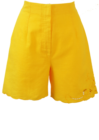 Vibrant Yellow High Waist Culotte Shorts with Cut Out Lace Detail - XS/S