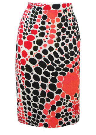 Vibrant Midi Pencil Skirt With Abstract Spot Pattern in Black, Red & Coral - S