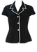Black Fitted Short Sleeved Jacket with Daisy Lace Edging & White Flower Buttons - M