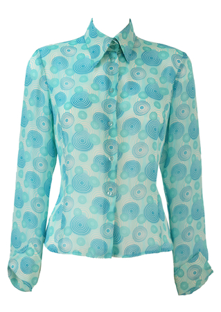 Semi Sheer Blouse with Blue & White 60's Style Psychedelic Circle Pattern -  M