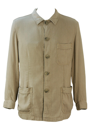 Armani Jeans Stone Grey, Part Linen Jacket - S/M