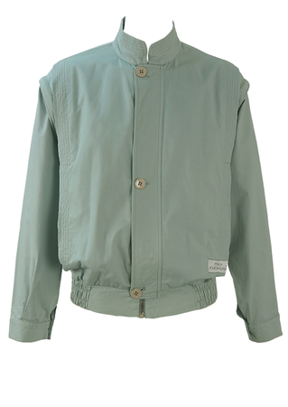 Vintage 80's Light Blue Cotton Bomber Jacket with Detachable Sleeves - L
