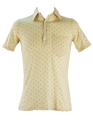 Cream Polo Style Shirt with Miniature Dark Blue Double Spot Print - S