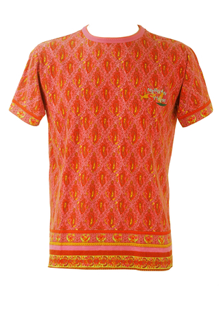 Indian Style Paisley Print T-Shirt in Hot Pink, Orange & Yellow - M