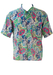 Short Sleeve Shirt with Abstract Floral Pattern in Pink, Green, Blue & Yellow - M/L