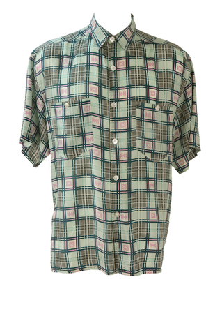 Vintage 90's Short Sleeve Silk Shirt with Blue, Green & Pink Graphic Check Pattern - L/XL