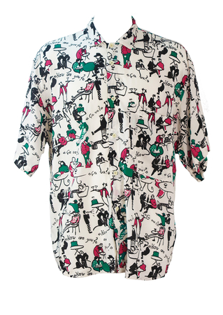 Vintage 90's Multicoloured Short Sleeve Shirt with Cartoon Cafe Scene Motifs - L/XL