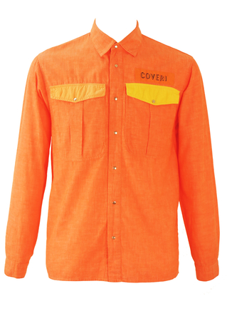 Enrico Coveri Orange Shirt with Neon Yellow & Peach Pocket Detail - M