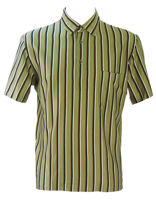 Olive Green Italian Mod Polo Shirt with Navy Blue, Brown & White Stripes - M/L