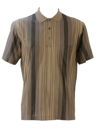 Brown Polo Shirt with Vertical Black Stripe Pattern - M/L