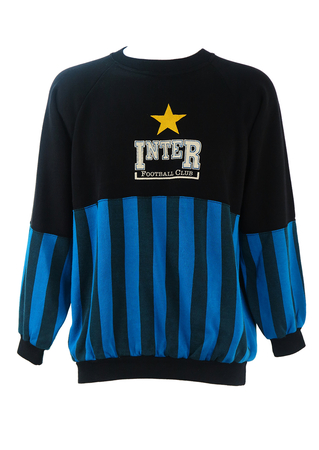 Black Sweatshirt with Blue Striped Pattern & Gold Star - L/XL