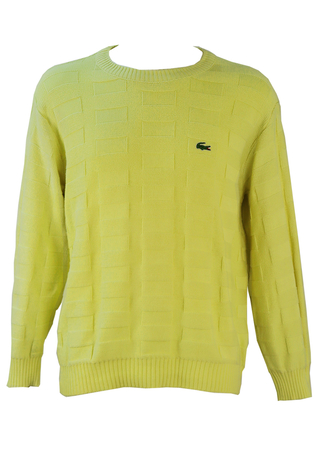 Lacoste Yellow Cotton Jumper with Interlocking Grid Design - M/L
