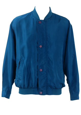 Teal Blue 100% Silk Bomber Jacket - L/XL