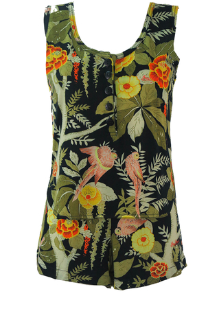 Sleeveless Top & Shorts Two Piece with Tropical Birds Print - S/M