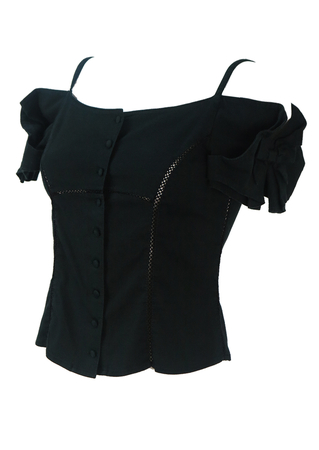 Black Off the Shoulder Fitted Top with Bow Sleeve Detail - S