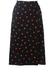 Black Midi Skirt with Red & Orange Abstract Polka Dot Pattern - L