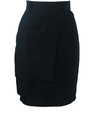Black High Waist Pencil Skirt with Tiered Layers - XS/S