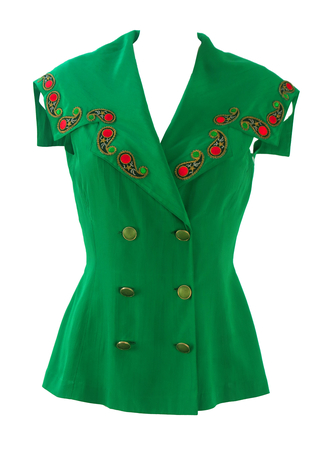 Emerald Green Sleeveless Top with Large Collar & Paisley Applique Detail - S/M