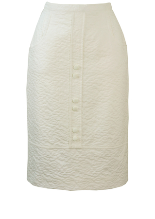 Vintage 1960's White Textured Pencil Skirt - S