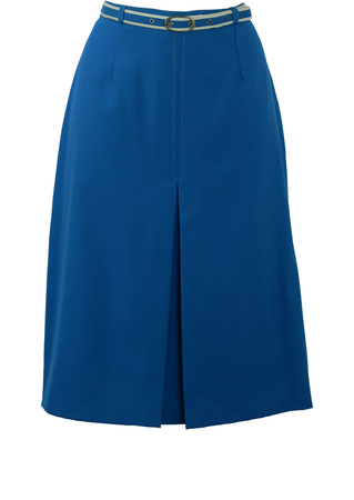 Royal Blue, Knee Length A-Line Skirt with Inverse Pleat Detail - M