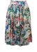 Flared Midi Skirt with Painterly Floral Print - M
