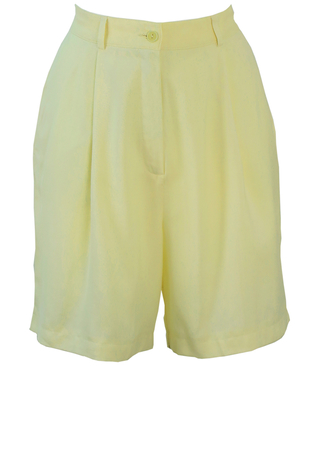 Max Mara 'Penny Black' Pleat Fronted Cream Shorts - S/M