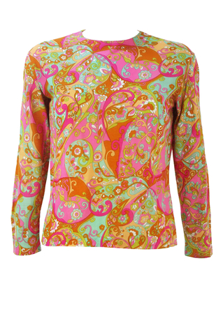 Vintage 60's Multicoloured Psychedelic Patterned Long Sleeve Top - M