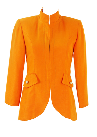 Vintage 60's Fitted Orange Jacket with Mandarin Collar - XS/S