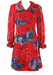 Vintage 70's Above the Knee Red Dress with Floral Pattern & Frilled Cuffs - M/L