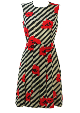 Vintage 60's Black & White Asymmetric Striped Dress with Abstract Poppy Design - S/M