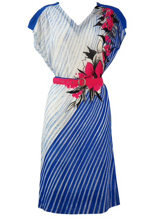 Vintage 80's Royal Blue & White Asymmetric Striped Midi Dress with Hot Pink Floral Pattern - M/L