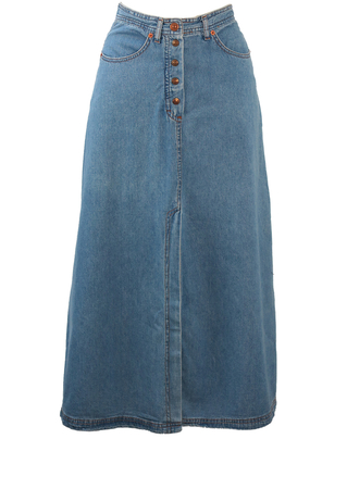 Blue Denim A-Line Maxi Skirt with Long Front & Back Slit Detail - XS/S
