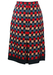 Midi Navy Skirt with Geometric Red, Blue & Cream Pattern - M/L