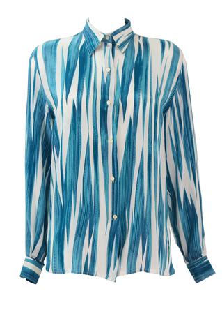 Blue, White & Purple Abstract Zig Zag, Striped Blouse - M/L