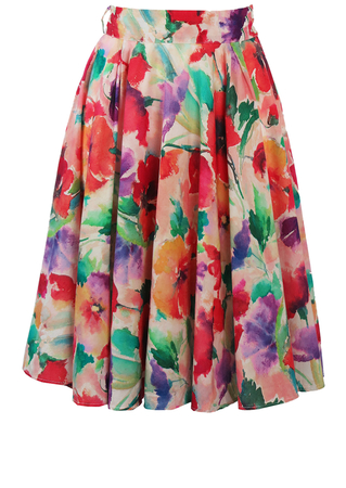 Knee Length Multicoloured Floral Circle Skirt in Painterly Style - S