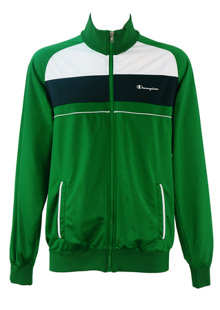 Champion Emerald Green Track Jacket with Navy & White Stripes - L/XL