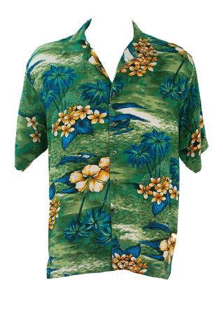 Green Hawaiian Shirt with Yellow Flower & Blue Palm Tree Print - M/L