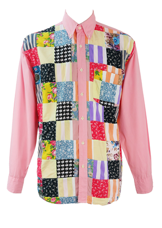 Pink Shirt with Multicoloured Patterned Patchwork Design - XL/XXL